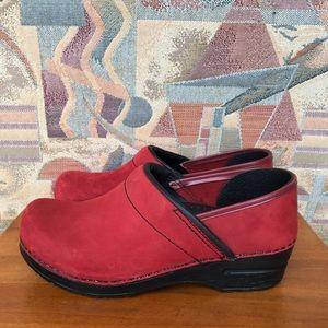 Dansko Red Nubuck Leather Clogs Size 37 US 6.5-7